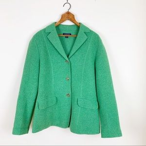Lands' End Wool Pea Coat Fun Green Color